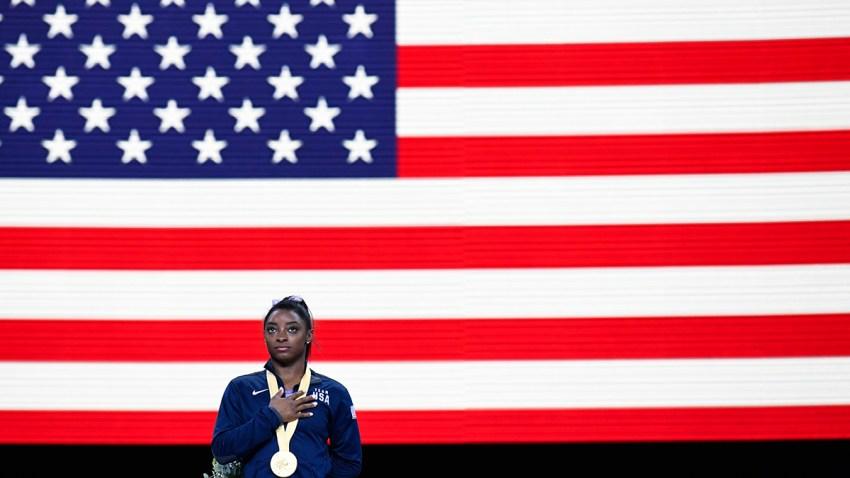 En la foto, la gimnasta estadounidense Simon Biles.