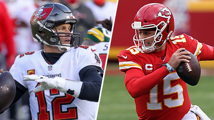 The Tampa Bay Buccaneers will face the Kansas City Chiefs for Super Bowl LV in Tampa, Florida. Above, quarterbacks Tom Brady, left, and Patrick Mahomes, right.